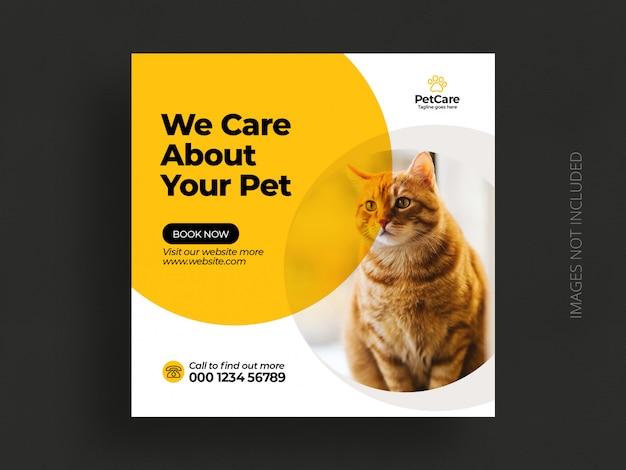 Modelo de banner de postagem de instagram de mídia social de serviço de pet care