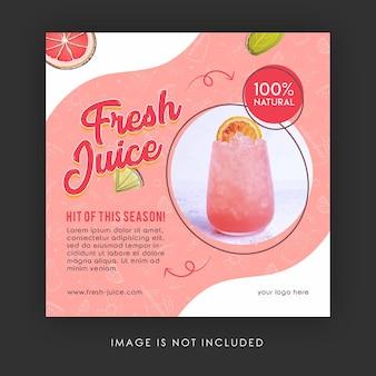 Modelo de banner de postagem de instagram de mídia social de suco fresco de verão Psd Premium