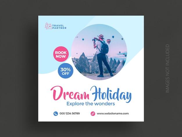 Modelo de banner de postagem de instagram de mídia social de viagens ou panfleto quadrado de férias de férias de turismo