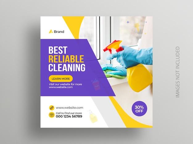Modelo de banner de postagem de instagram de serviço de limpeza