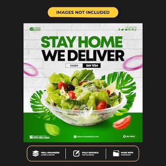 Modelo de banner de postagem de instagram para promoção de menu saudável