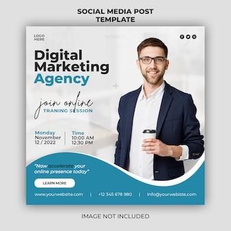 Modelo de banner de postagem de marketing digital ao vivo em webinar de promoção de mídia social