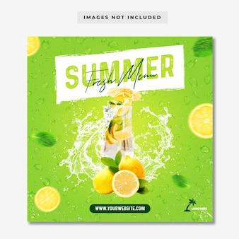 Modelo de banner de postagem de menu de verão fresco