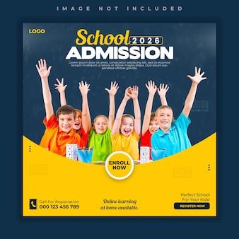 Modelo de banner de postagem de mídia social aberta para admissão escolar