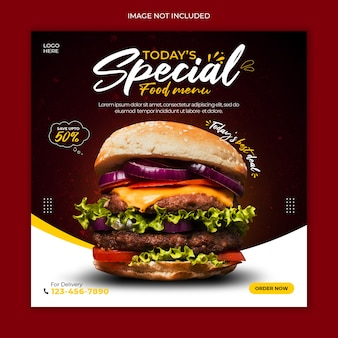 Modelo de banner de postagem de mídia social de cardápio delicioso