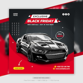 Modelo de banner de postagem de mídia social de venda de carro na sexta-feira negra