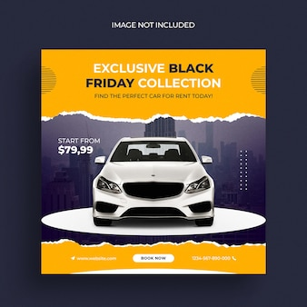Modelo de banner de postagem de mídia social de venda de carros black friday