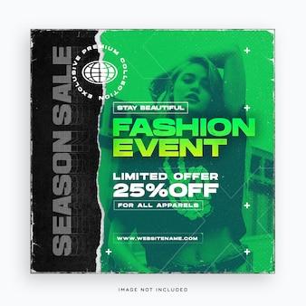 Modelo de banner de postagem de mídia social para eventos de moda