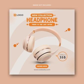 Modelo de banner de postagem de mídia social para fone de ouvido