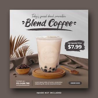 Modelo de banner de postagem de mídia social para menu de bebidas para promoção