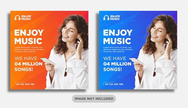 Modelo de banner de postagem de mídia social para música ou fone de ouvido