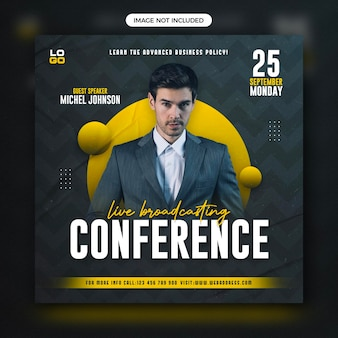 Modelo de banner de postagem de webinar de webinar ao vivo para negócios