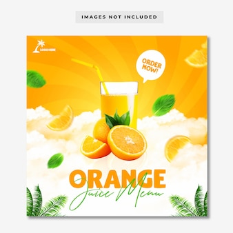 Modelo de banner de postagem do instagram do menu orange juice