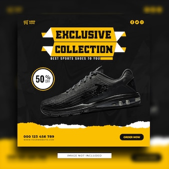 Modelo de banner de postagem em mídia social para venda de sapatos
