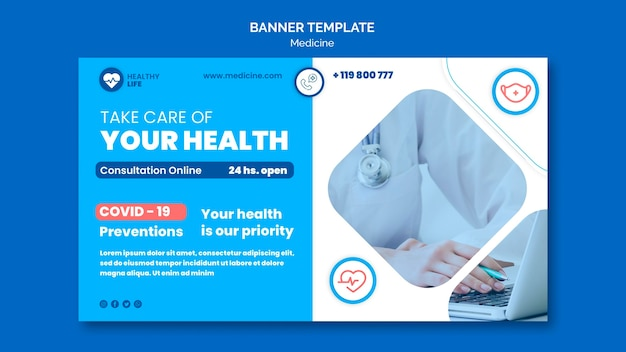 Modelo de banner de prevenção covid19 de medicamento