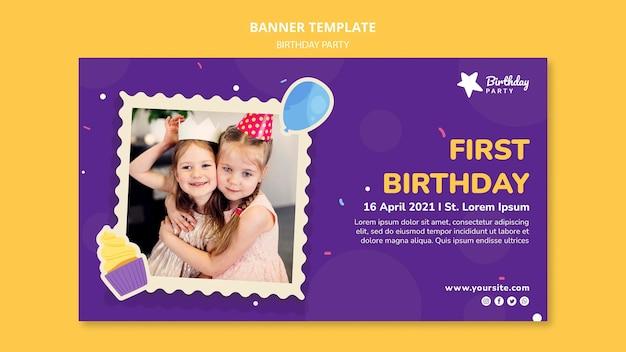 Modelo de banner de primeira festa de aniversário