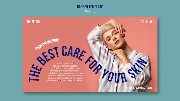 Modelo de banner de produto de beleza e cuidados com a pele