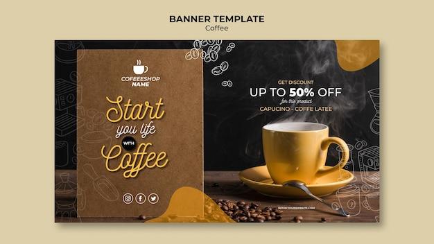 Modelo de banner de promoção de café