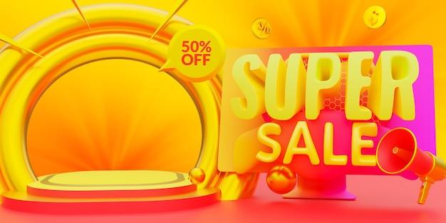 Modelo de banner de promoção de desconto de super venda