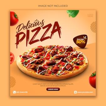 Modelo de banner de promoção de menu pizza