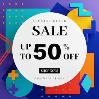 Modelo de banner de promoção de venda com desenho de formas geométricas