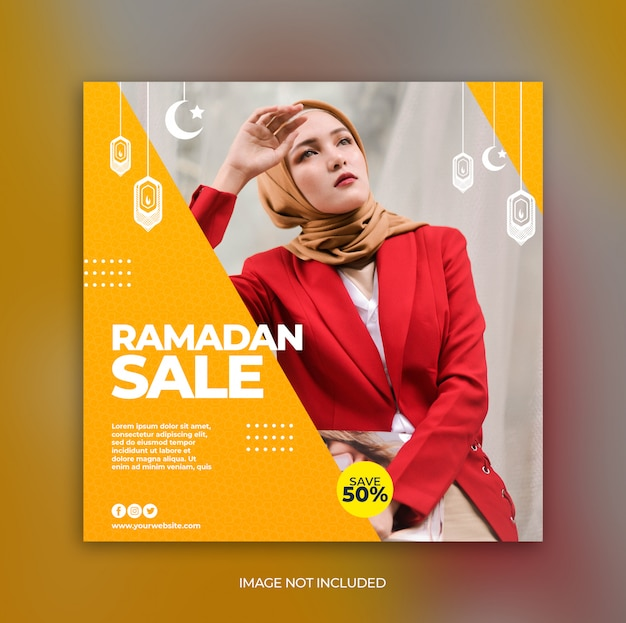 Modelo de banner de promoção de venda de moda ramadan para post de mídia social Psd Premium