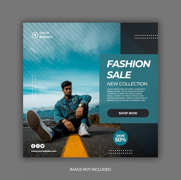 Modelo de banner de promoção de venda de moda verão para post de mídia social