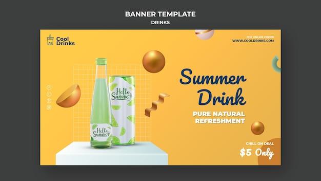 Modelo de banner de puro refresco de bebidas de verão