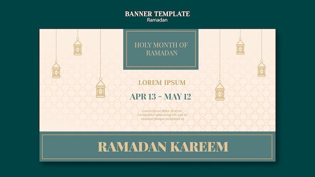 Modelo de banner de ramadã com elementos desenhados