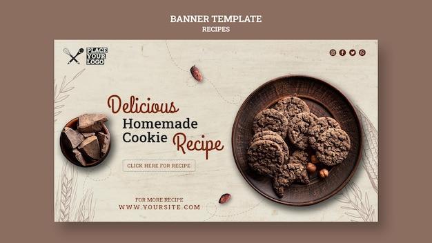 Modelo de banner de receita de biscoito caseiro delicioso