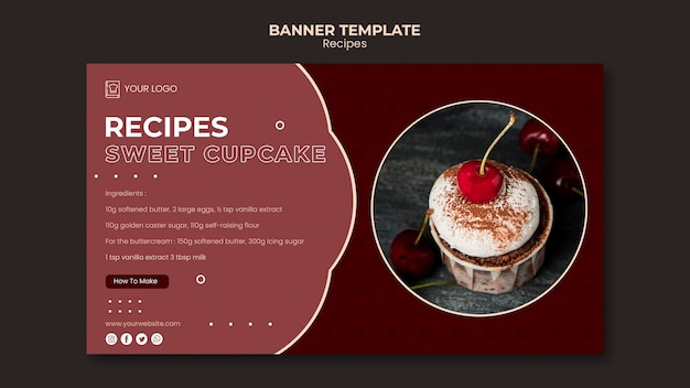 Modelo de banner de receitas de sobremesa