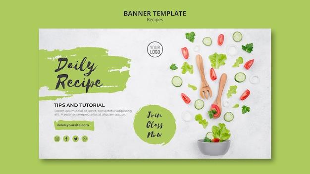 Modelo de banner de receitas saudáveis