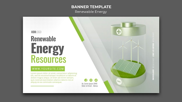 Modelo de banner de recursos de energia renovável