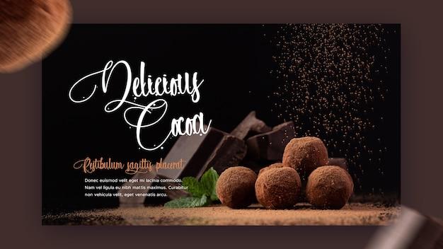 Modelo de banner de restaurante com chocolate