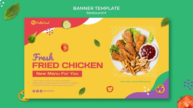 Modelo de banner de restaurante com foto