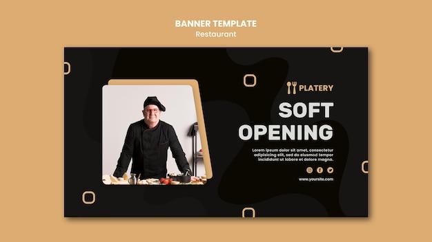 Modelo de banner de restaurante de abertura suave