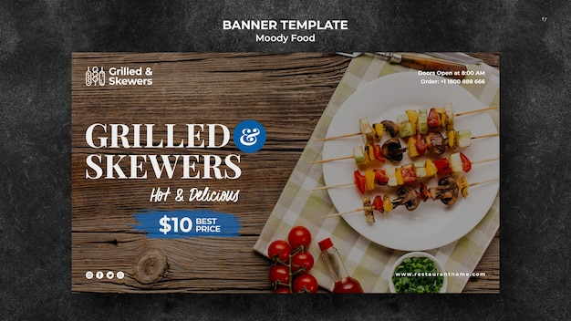 Modelo de banner de restaurante de bife e legumes grelhados