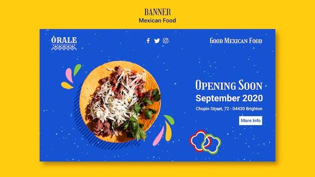 Modelo de banner de restaurante de comida mexicana