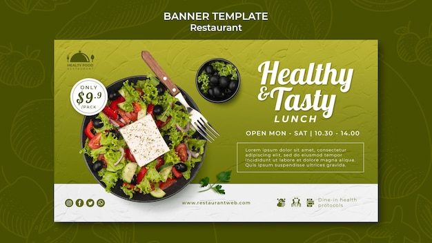Modelo de banner de restaurante de comida saudável