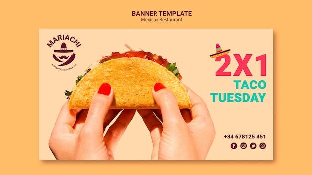 Modelo de banner de restaurante de pratos tradicionais mexicanos