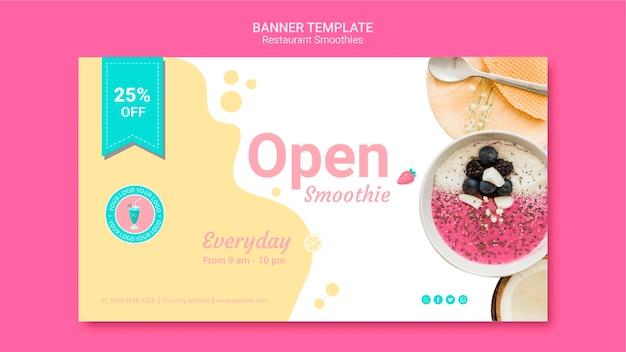 Modelo de banner de restaurante de smoothie
