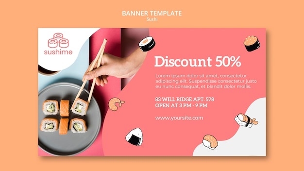 Modelo de banner de restaurante de sushi com desconto