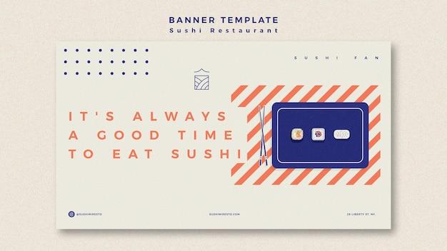 Modelo de banner de restaurante de sushi