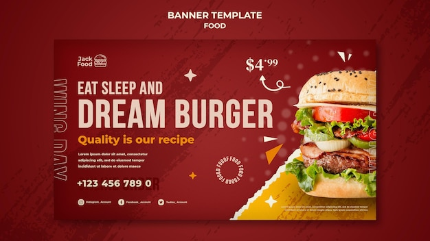 Modelo de banner de restaurante fast food
