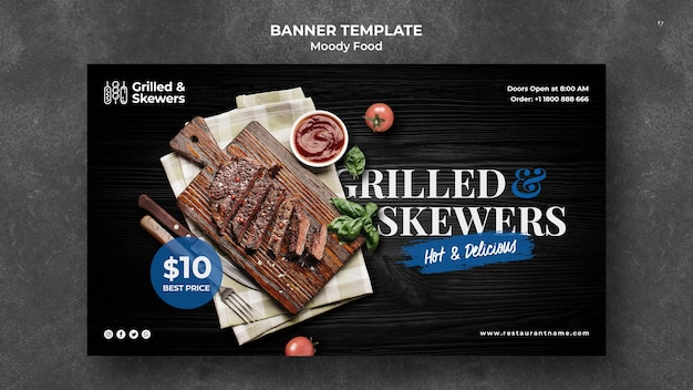 Modelo de banner de restaurante grelhado e espetos