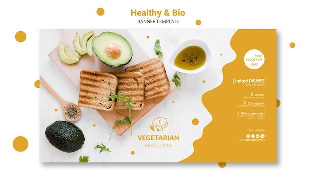 Modelo de banner de restaurante vegetariano