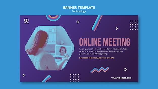Modelo de banner de reunião online
