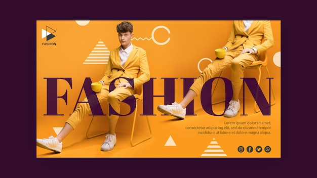 Modelo de banner de roupas da moda