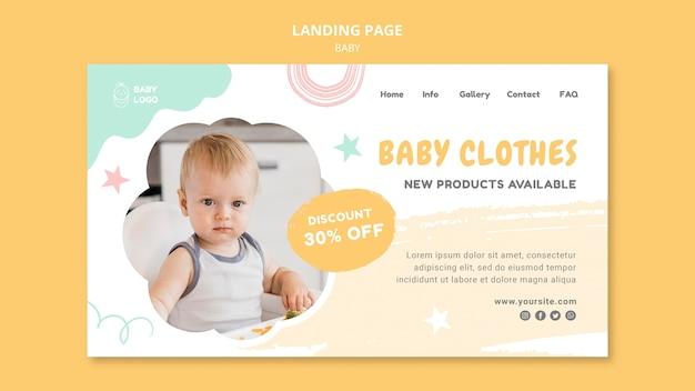 Modelo de banner de roupas de bebê