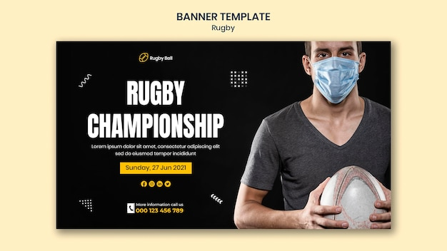 Modelo de banner de rugby com foto